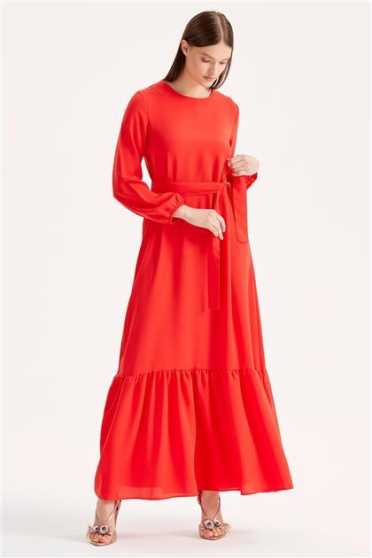 Volanlı Kuşaklı Elbise 1214