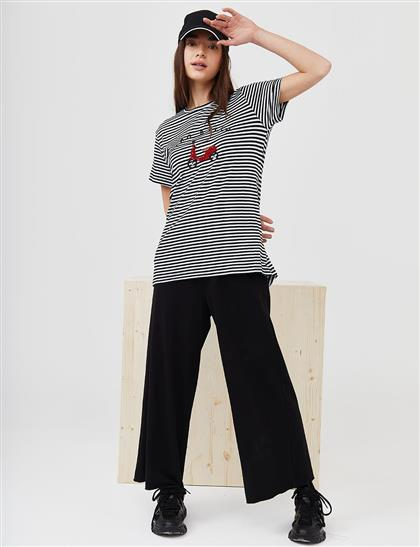Scooter Logolu Çizgili Penye T-Shirt Lacivert B21 10125