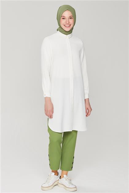 Armine Çıtçıt Detaylı Skinny Pantolon 21Y2026 Koyu Yeşil
