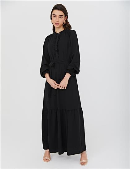 KYR Kuşaklı Fırfırlı Elbise Siyah B21 83006