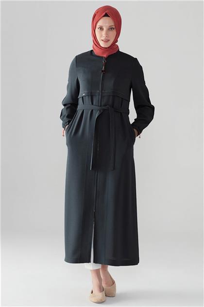 ZÜHRE Fermuarlı Uzun Kap Siyah 11017 Z21YB11017ZB100001-R1210