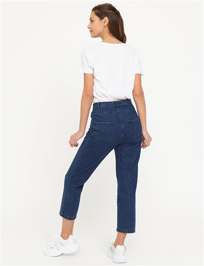 Basic Mom Jeans Lacivert B21 19079