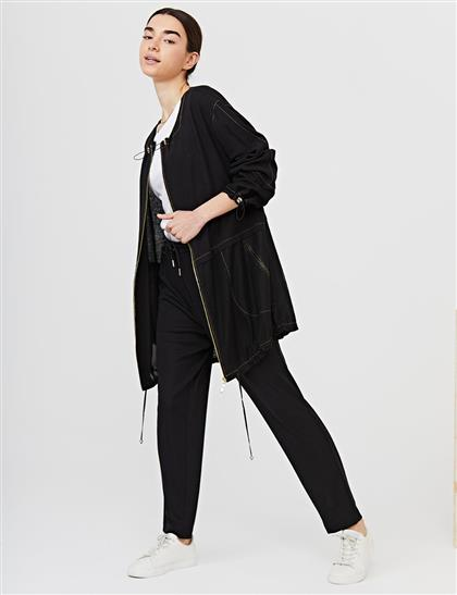 Kontrast Dikişli Geniş Yakalı Ceket Siyah B21 13025