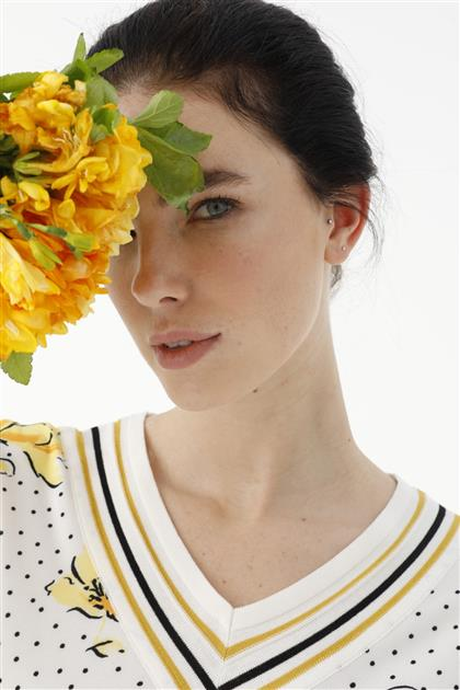 Çiçek Desenli Ribanalı Bluz 2811-BYZ