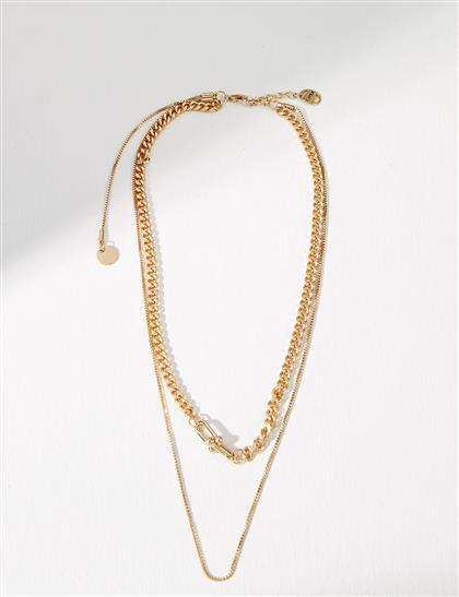 Çift Zincirli Kolye Gold B21 KLY10