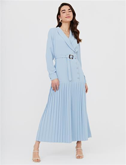 Eteği Pileli Kruvaze Yaka Elbise Mavi B21 23142