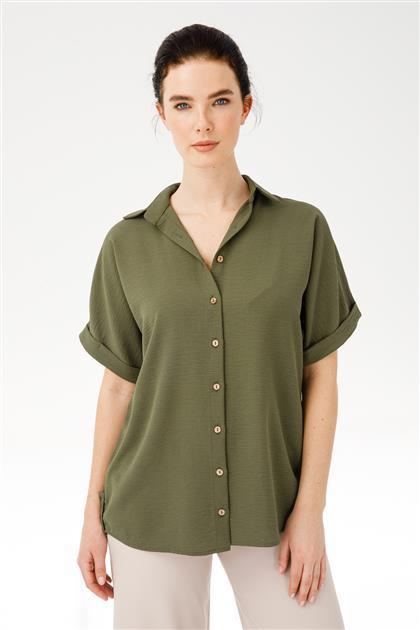 Kısa Kollu Düğmeli Gömlek 3878-hak