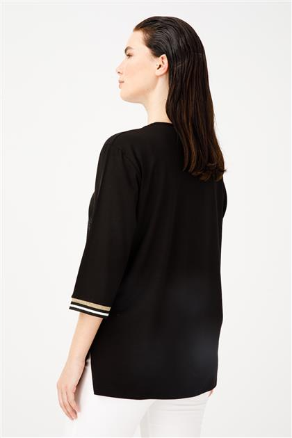 Yaprak Taşlı Ribanalı Truvakar Kol Penye Bluz 3874-SYH
