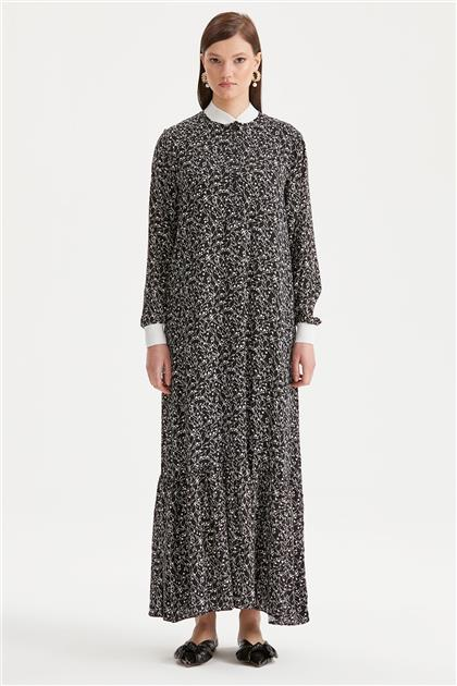 Etek Ucu Volanlı Desenli Elbise 1213