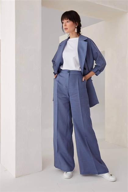 Cepli Keten Kadın Pantolon Lacivert V21YPNT35016