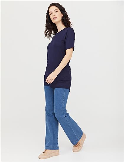 Sıfır Yaka Basic Kısa Kol T-Shirt Lacivert SZ 10509