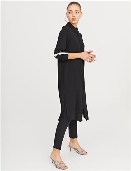 KYR Kontrast Dikişli Uzun Tunik Siyah B21 81032