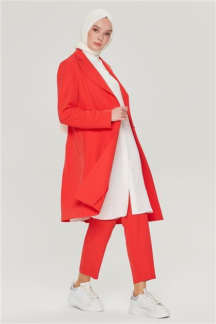 Armine Uzun Ceketli Blazer Takım 21Y6262 Nar Çiçeği