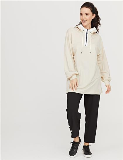 Yarım Fermuarlı Kapüşonlu Sweatshirt Krem B21 31012