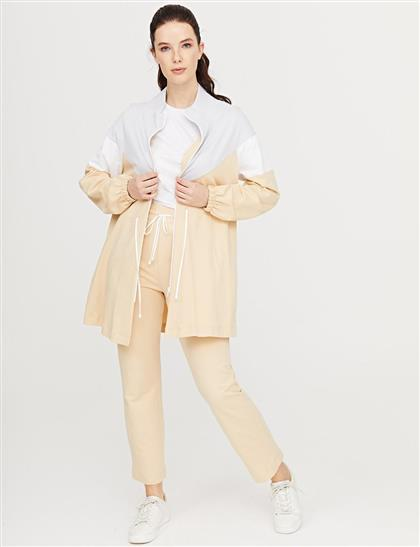 Büzgülü Dik Yaka Sweatshirt Bej B21 31011