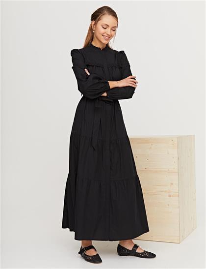 Nakış İşlemeli Brode Elbise Siyah B21 23136