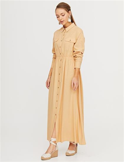 Çift Cepli Düğmeli Elbise Bej B21 23156