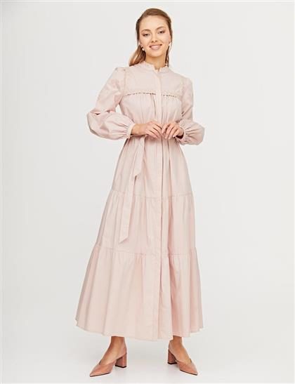 Nakış İşlemeli Brode Elbise Pudra B21 23136