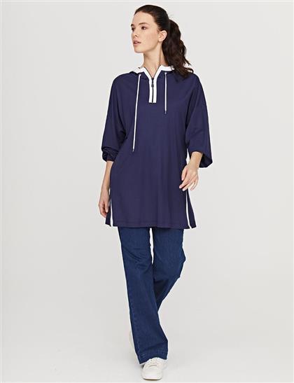 Yarım Fermuarlı Kapüşonlu Sweatshirt Lacivert B21 31012