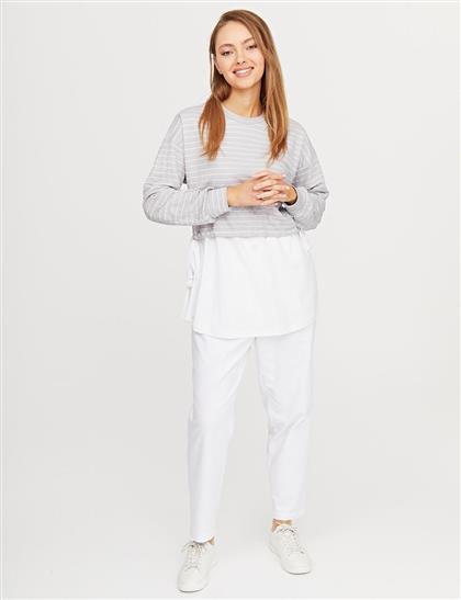 Çizgili Sıfır Yaka Sweatshirt Gri B21 31006