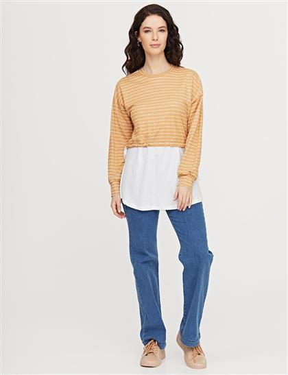 Çizgili Sıfır Yaka Sweatshirt Bej B21 31006