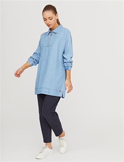 Yarım Fermuarlı Denim Tunik Mavi B21 21273