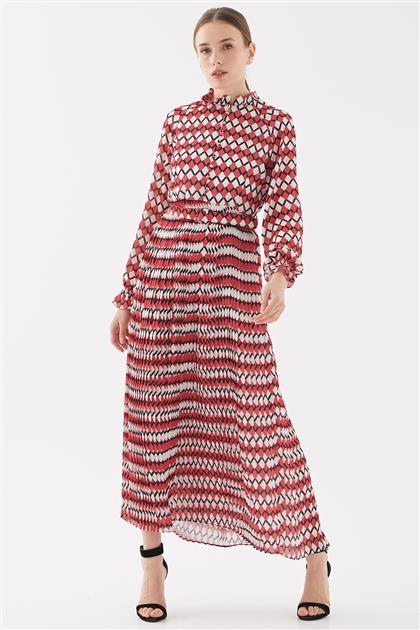Empirme Piliseli Elbise-Kırmızı TK-Y6602-11