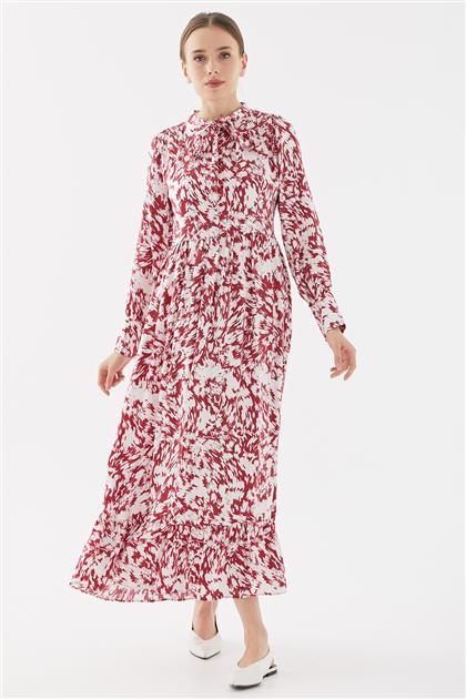Empirme Kıravatlı Elbise-Kırmızı TK-Y6560-11