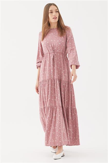 Çiçek Desenli Elbise-Gül Kurusu 1160802-53