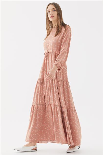 Çiçek Desenli Elbise-Somon 1160802-73