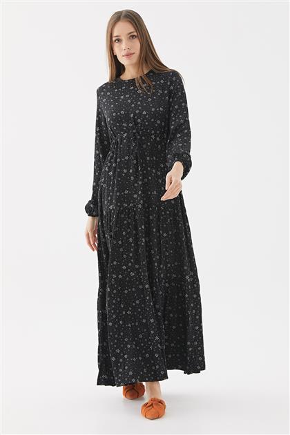 Çiçek Desenli Elbise-Siyah 1160802-01