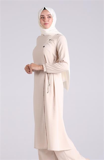 Vivezza Bağlamalı Tunik Pantolon Takım 6858-04 BEJ