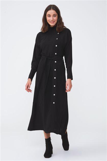 Yandan Patlı Sedef Düğmeli Elbise-Siyah 2710.ELB.537.1-01