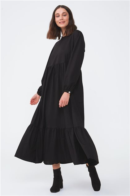 Büzgülü Elbise-Siyah 2736.ELB.541.1-01