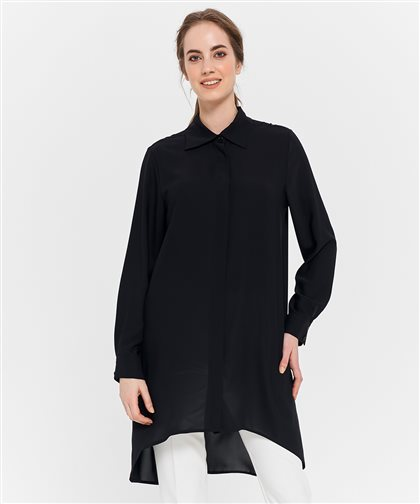 Pile Detaylı Gömlek-Siyah 2628.GML.335.1-01