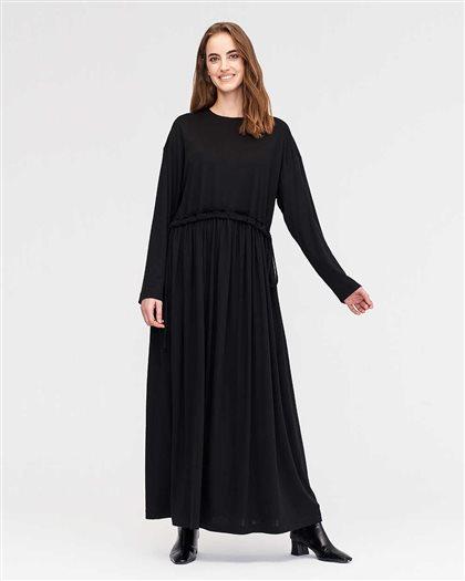 Büzgülü Örme Elbise-Siyah 2566.ELB.509.1-01