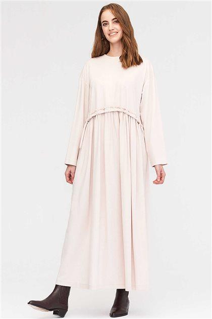 Büzgülü Örme Elbise-Bej 2566.ELB.509.1-11