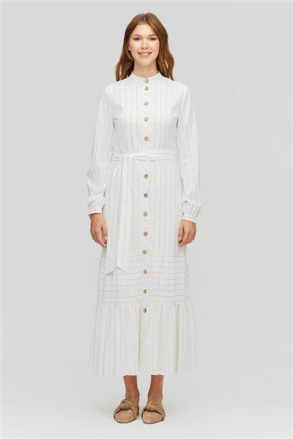 Çizgili Gömlek Elbise-Ekru 2449.ELB.485.1-52