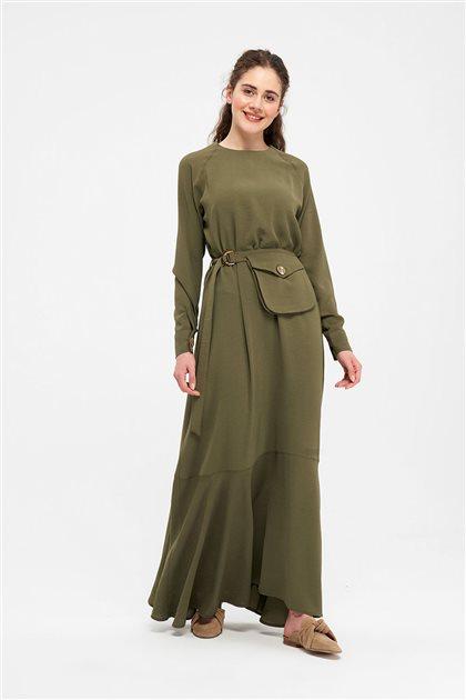 Cep Detaylı Kemerli Elbise-Haki 2701.ELB.531.1-27