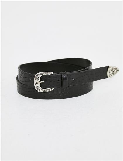 Metal İşlemeli Rugan Kemer Siyah B21 KMR01