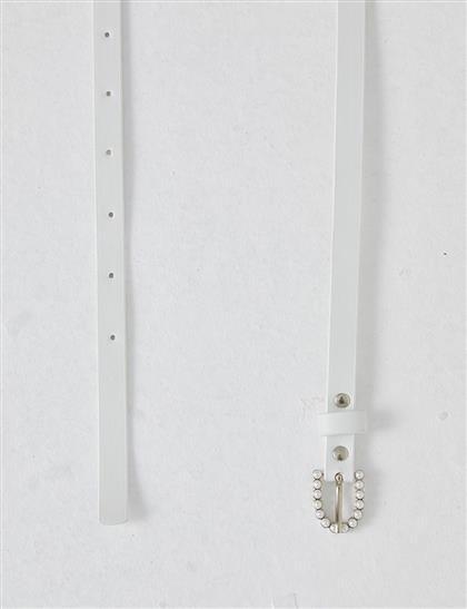 Taşlı Tokalı İnce Kemer Beyaz B21 KMR03