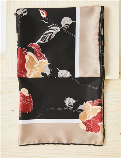 Çiçek Desenli PES Eşarp Siyah B21 ESP82