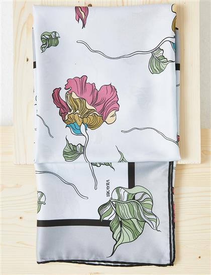 Çiçek Desenli PES Eşarp Gri B21 ESP82