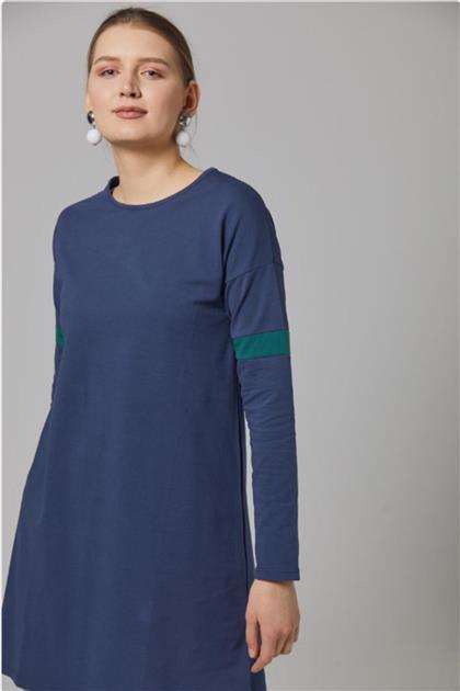 Gippe Collection Lacivert Doğal Kumaş Tunik 10333