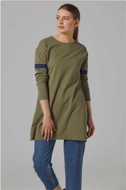 Gippe Collection Kadın Haki Doğal Kumaş Tunik 10333