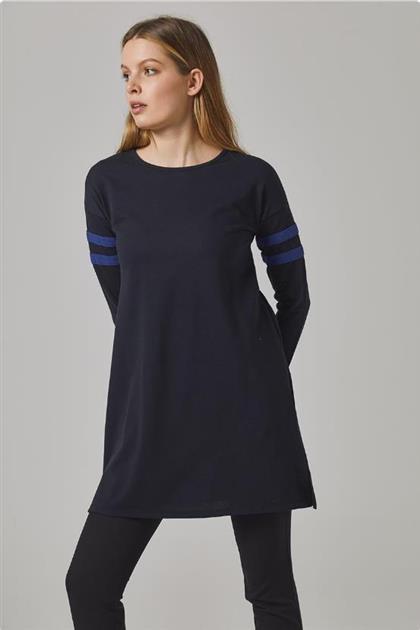 Gippe Collection Doğal Kumaş Spor Şeritli Tunik Lacivert 10341