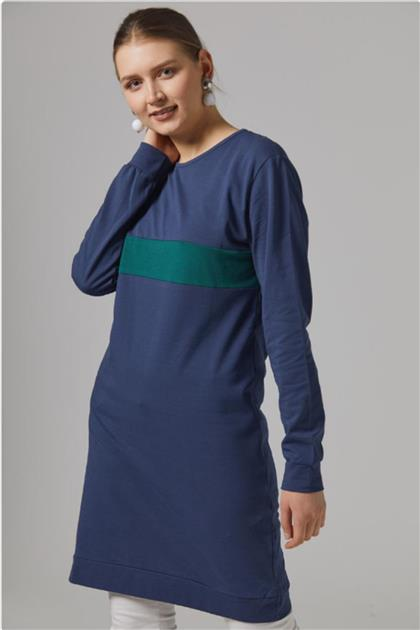 Gippe Collection Lacivert Doğal Kumaş Tunik 10332