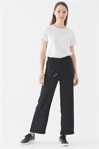Siyah Bel Bağcıklı Bol Paça Pantolon