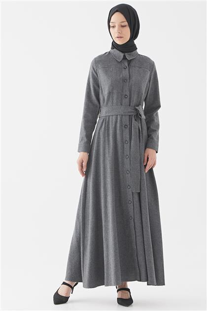 Belden Oturtmalı Elbise-Antrasit 2722.ELB.539.1-50