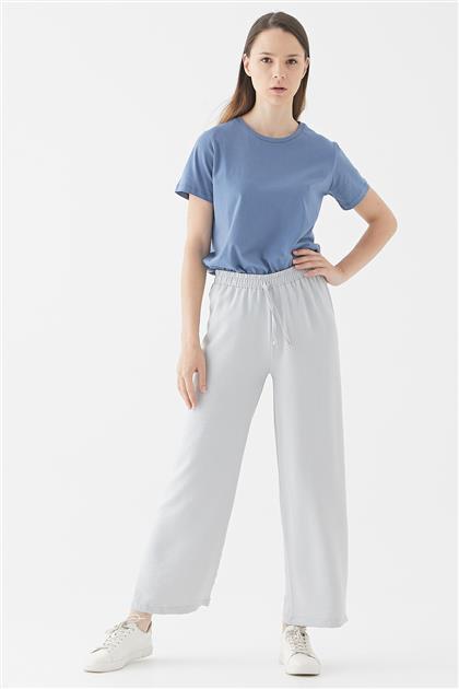 Gri Bel Bağcıklı Bol Paça Pantolon